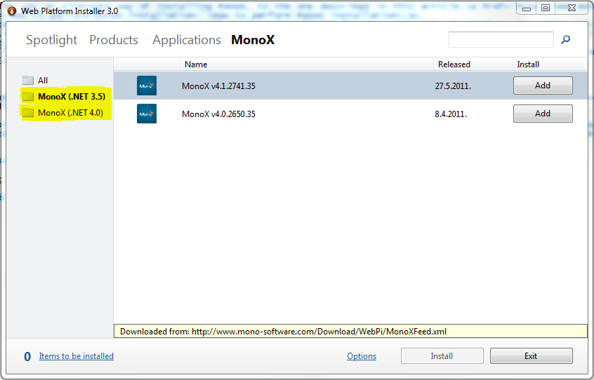 MonoX and Web Platform Installer