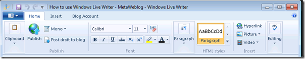 Windows Live Writer ribbon