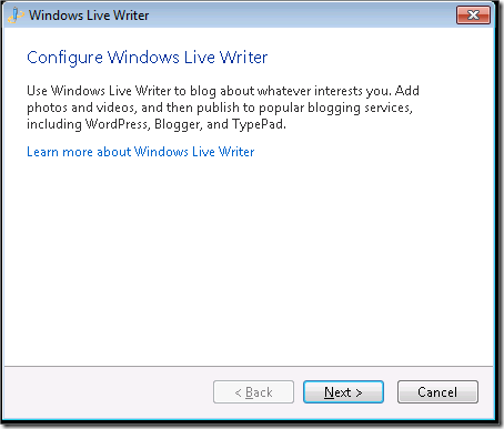 Configure Windows Live Writer